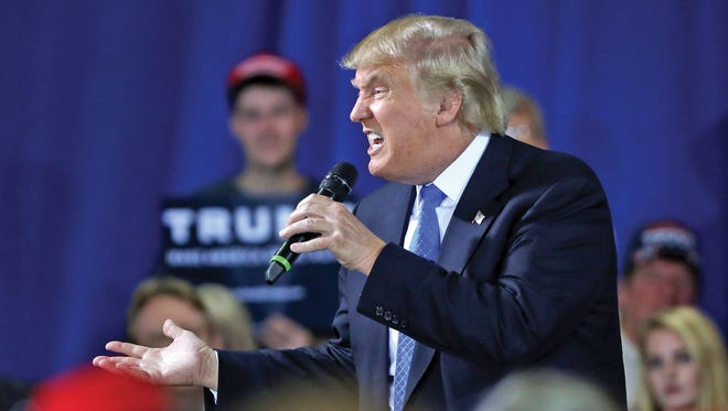 Republican Presidential candidate Donald Trump speaks during a rally in Janesville, Wis.