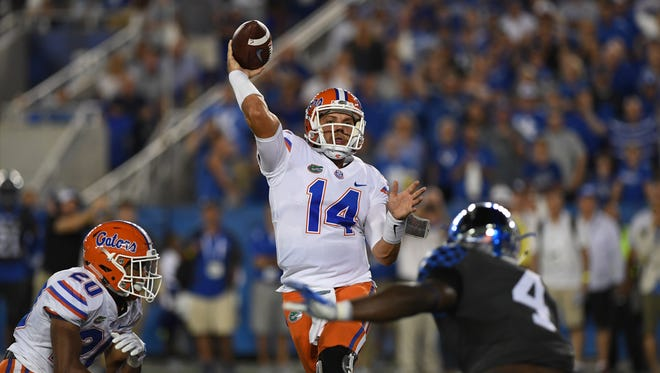 UF QB Luke Del Rio throws the winning touchdown during the University of Kentucky football game against University of Florida in Lexington, KY on Saturday, September 23, 2017.