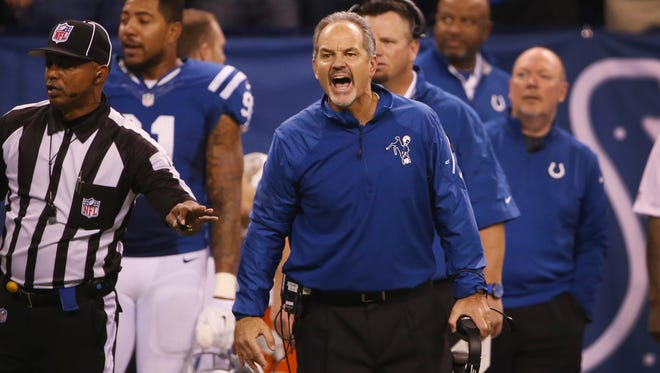 Indianapolis Colts head coach Chuck Pagano, shown here during Sunday's game, said it was his decision to extend Reggie Wayne's three-catch streak.