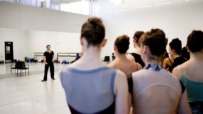 Dancers with the Pennsylvania Ballet practice under the direction of new artistic director Angel Corella in Philadelphia.