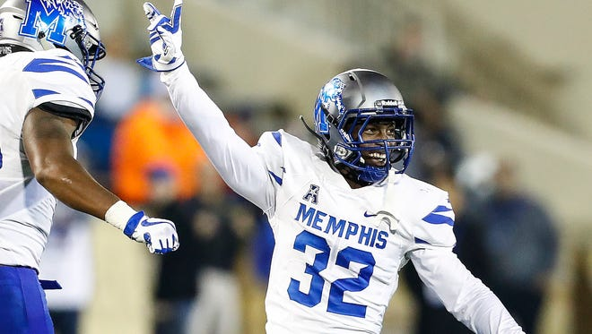 University of Memphis defensive back Jacobi Francis celebrates during a 41-14 victory over University of Tulsa in Tulsa, Okla., Friday, November 3, 2017.