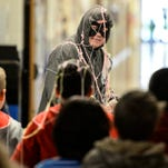Bernard McGinty, principal at Union Canal Elementary School, aka the Soda Tab Bandit, is attacked by students with silly string when he tried to steal their soda can tabs at Union Canal Elementary School on Tuesday, March 22, 2016. The school collected 217 pounds of soda can tabs in four weeks which will be donated to the Ronald McDonald House.