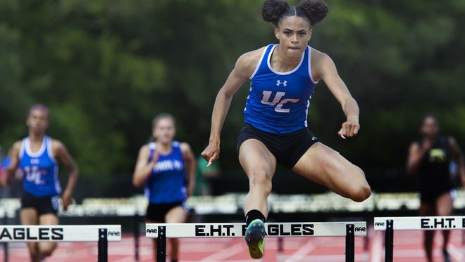 Sydney McLaughlin of Union Catholic takes an easy Non Public A Girls 400 Hurdles win setting a record doing it. NJSIAA Groups I, IV and Non-Public A Group Track Championships in Egg Harbor NJ on June 2, 2017.