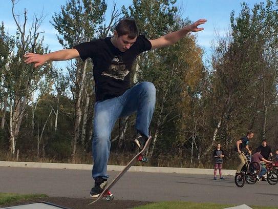 A skateboarder at the Nekoosa skate park Sunday afternoon.