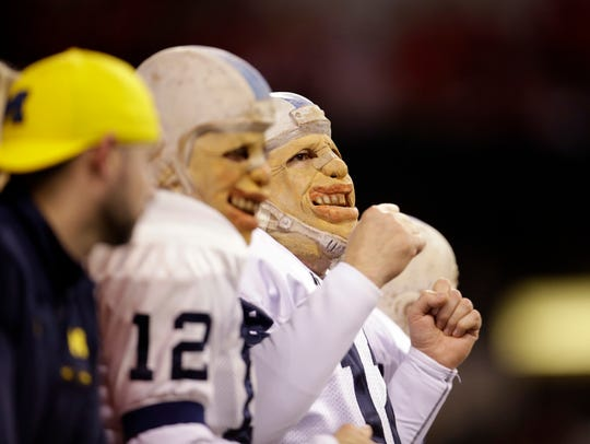 Penn State fans watch during the first half of the