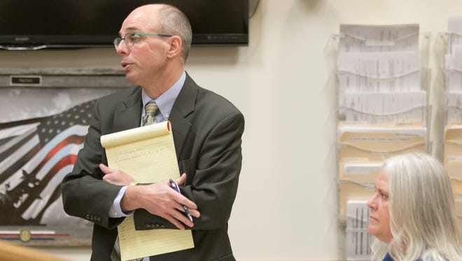 Defense attorney Steven Dodge speaks Thursday, Jan. 25, 2018, on behalf of of his client, Sarah Jane Fluegel, 53, a Fowlerville resident charged with operating while intoxicated causing death and reckless driving causing death.