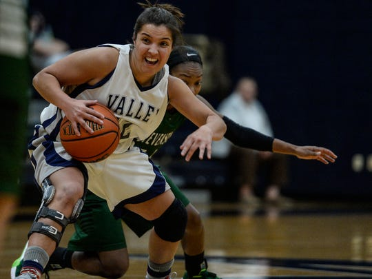 Lebanon Valley College's Kiely Chaklos battles Stevenson's Imani Sanders at Sorrentino Gymnasium on Wednesday night. Chaklos finished with a team-high 14 points in a 61-58 loss.