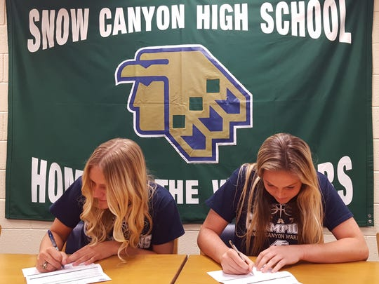 Snow Canyon's Shaylee Reed (left) and Mada Mooring (right) signed their Letters of Intent to Snow College on Friday.