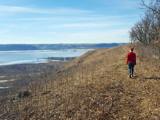 A trail in Rush Creek State Natural Area in De Soto leads to the top of a bluff where views of the Mississippi River await.