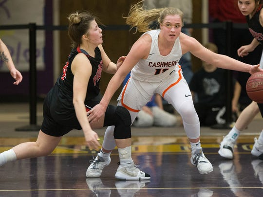 Cashmere beats Omak in the girls district championship basketball game Monday night in Wenatchee 76-37.