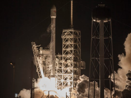 SpaceX's Falcon 9 rocket blasts off from Kennedy Space Center pad 39A with the EchoStar 23 communications satellite on Thursday, March 16, 2017.