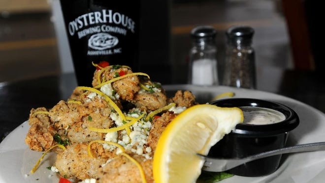 A plate of blue cheese-fried oysters at the Oysterhouse Brewing Co. at 625 Haywood Road.