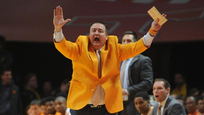 Feb 17, 2015; Knoxville, TN, USA; Tennessee Volunteers head coach Donnie Tyndall during the game against the Kentucky Wildcats at Thompson-Boling Arena. Mandatory Credit: Randy Sartin-USA TODAY Sports