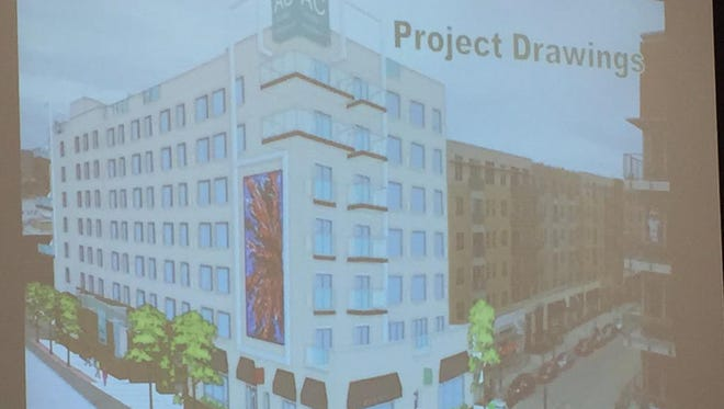 Exterior of the AC Marriott Hotel is planned for The Banks. Cincinnati's design review board doesn't like the metal frame around the four-story-tall animation board planned near the southwest corner of Joe Nuxhall and Freedom ways.