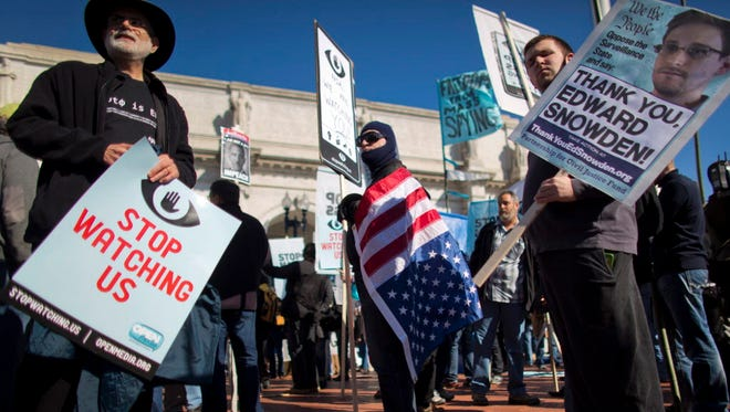 Protest against NSA collection of phone records in 2013.