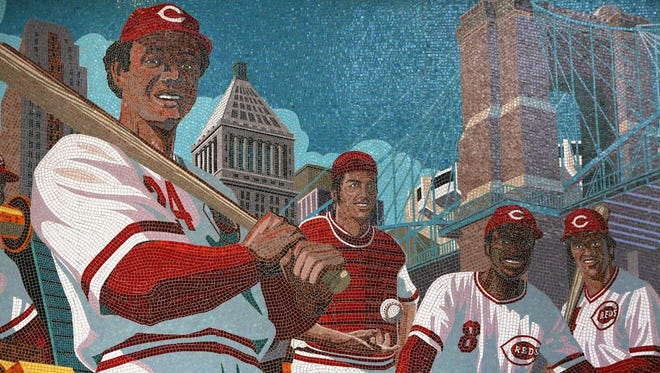 """The """"Great Eight"""" mosaic mural at the main entrance of Great American Ball Park celebrates the Big Red Machine. Mark Riedy was the illustrative artist, and the project designer was FRCH Design."""