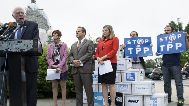 Democrats rally to oppose the Trans-Pacific Partnership on Capitol Hill on June 3, 2015.