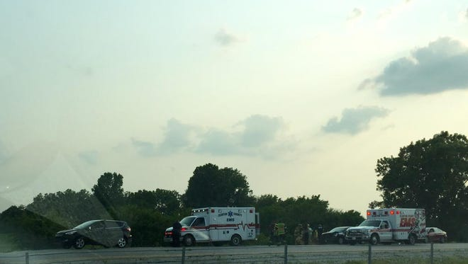 Emergency vehicles at a crash on I-65 in Clinton County.