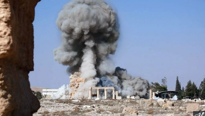 Smoke from the ISIL detonation of an ancient temple in Palmyra, Syria.