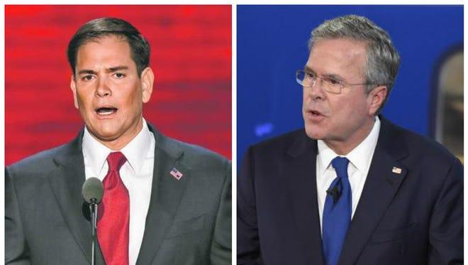 GOP 2016 presidential candidates, Florida Senator Marco Rubio and former Florida Governor Jeb Bush.