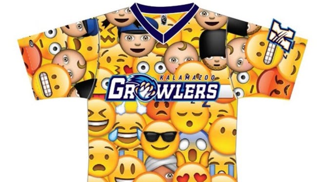 A sample image of what the Kalamazoo Growlers' emoji jersey will look like. Fans can vote on their favorite emojis to be featured on the jersey on the Growlers' website.