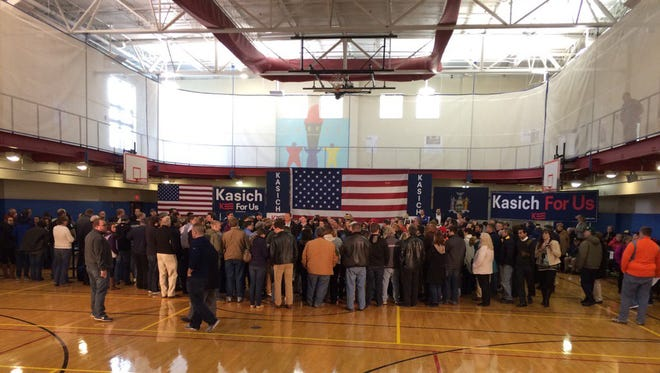 Inside the Greece Community and Senior Center, people get ready for John Kasich rally and town hall meeting.