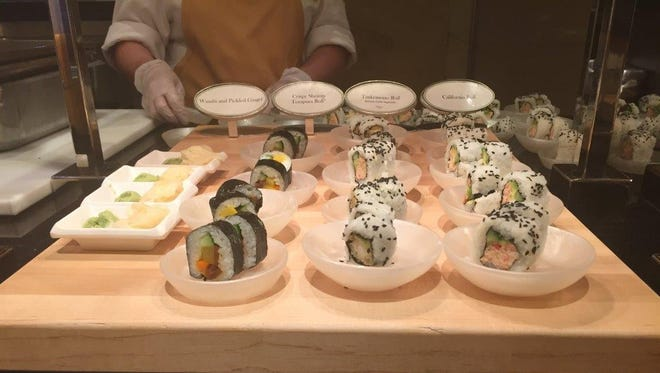 A selection of sushi available at the buffet at the Wynn Las Vegas.