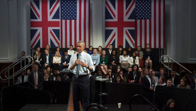 President Obama at a town hall meeting in London on April 23, 2016.