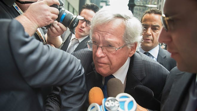 Former Republican Speaker of the House Dennis Hastert is due in court on Wednesday, April 27, 2016, for sentencing. Hastert pleaded guilty in October to one count of illegal structuring of bank withdrawals.