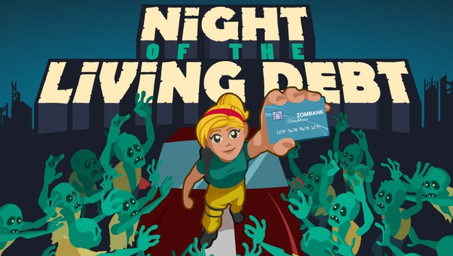 "The main menu of NMSU's Learning Games Lab's award-winning app, ""Night of the Living Debt."" JUL16"