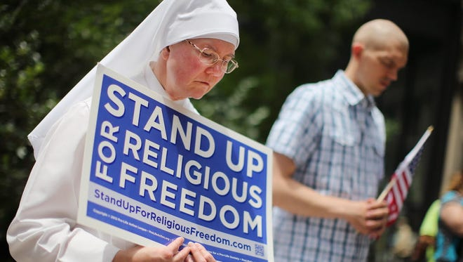Rally in support of religious freedom in Chicago.