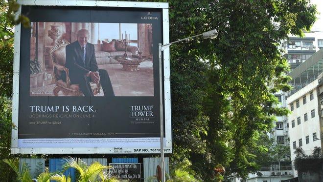 Billboard for Trump Tower apartments in  Mumbai, India.