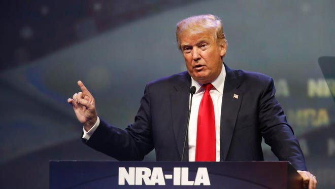 Donald Trump spoke in May at the NRA Annual Convention in Louisville at Freedom Hall.