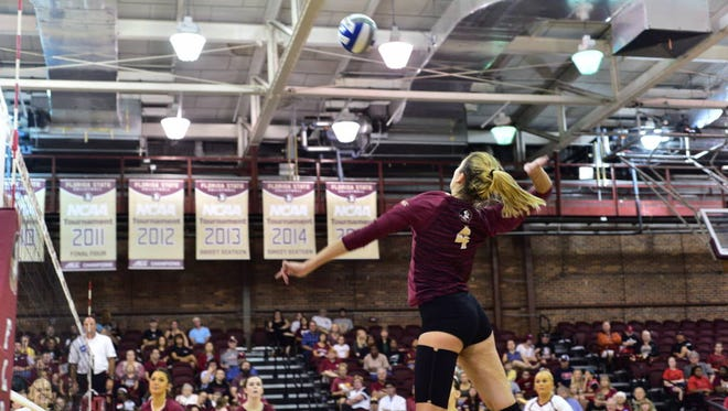 FSU's Katie Horton reached over 1,000 kills in her career against NC State.