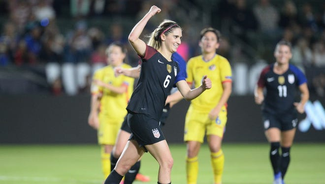 USA midfielder Morgan Brian (6) celebrates after scoring a goal on penalty kick against Romania.
