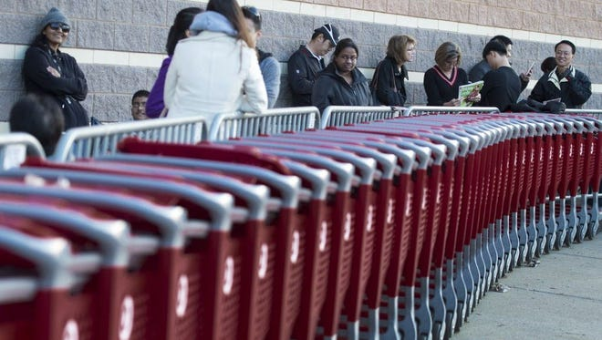 Lining up outside a Target in Fairfax, Va., on Thanksgiving Day in 2015.