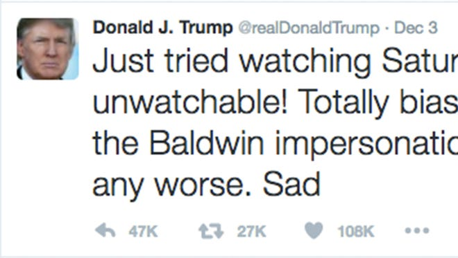 """1,000 Words - United States President-elect Donald J. Trump went to Twitter on December 3 to vent, yet again, about his discontent with Alec Baldwin's comedic portrayal of him on NBC show, 'Saturday Night Live.' With less than two months remaining before Trump is sworn in as the next leader of the FREE world, maybe he should build a wall - a wall of thicker skin. """"1, 000 Words"""" is a pictorial commentary on events in Greater Memphis and around the world. Today's """"1, 000 Words"""" is by Yalonda M. James, a Commercial Appeal photographer."""