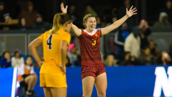 USC midfielder Morgan Andrews (3) reacts as the Trojans win the national championship game against West Virginia.