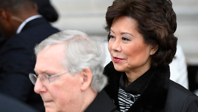 Elaine Chao, awaits a Senate vote Tuesday on her nomination to become transportation secretary, attends President Donald Trump's inauguration Jan. 20, 2017. She is shown with her husband, Senate Majority Leader Mitch McConnell, R-Ky.