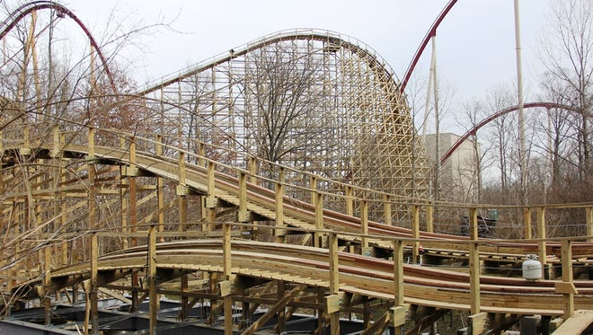 Mystic Timbers, a new wooden roller coaster, is under construction at Kings Island.
