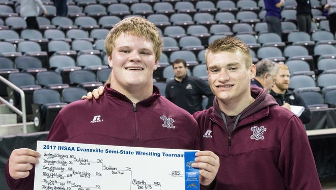 Wade Ripple (left) and Austin Bethel pose after the Evansville semistate last Saturday.