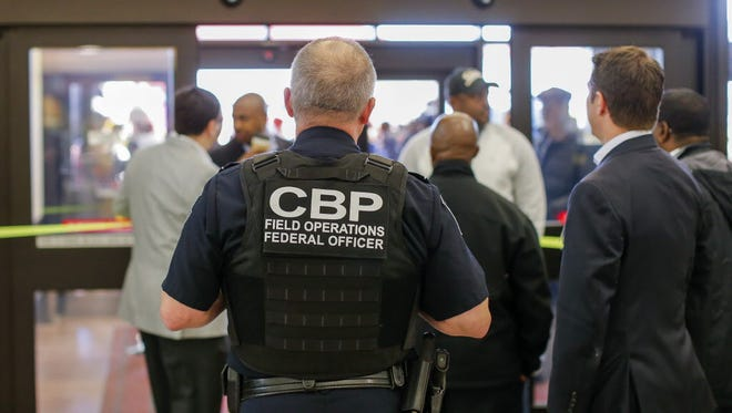 A Customs and Border Protection officer at work in Atlanta in January 2017.