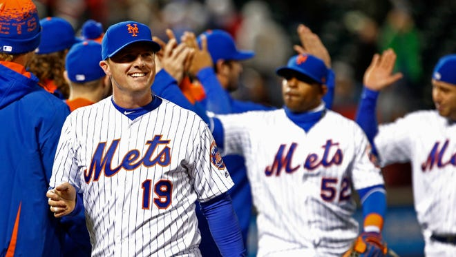 Jay Bruce celebrates the Mets' 5-4 win over the Phillies Wednesday at Citi Field. Bruce blasted two Mets to carry his team offensively.