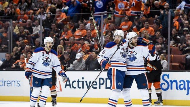 Edmonton Oilers defenseman Adam Larsson (6) celebrates a goal against the Anaheim Ducks during the third period in Game 1.