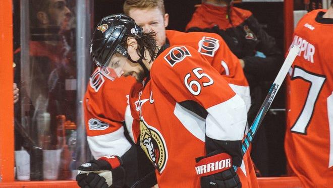 Ottawa Senators defenseman Erik Karlsson (65) celebrates his goal in the third period of Game 1.