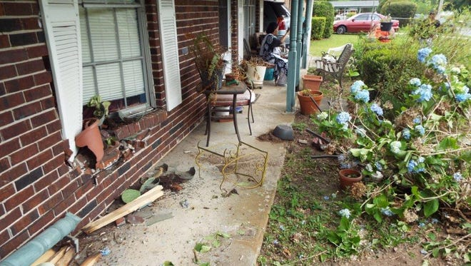 A car smashed into the front of a home in the 7700 block of Fiesta Drive early on Friday, May 19, 2017, according to the Florida Highway Patrol.