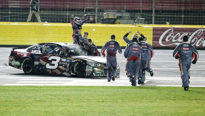 Austin Dillon and crew celebrate his first career Cup Series victory at the Coca-Cola 600.
