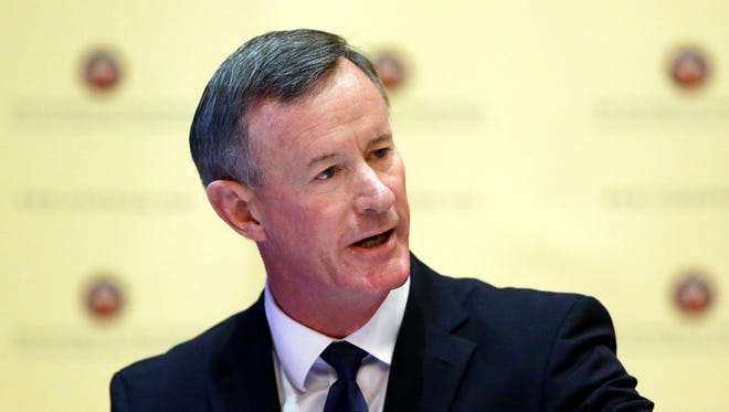 FILE - In this Aug. 21, 2014, file photo, U.S. Navy Adm. William McRaven, the next chancellor of the University of Texas System, addresses the Texas Board of Regents, in Austin, Texas. McRaven is running into political problems in his role as chancellor of the University of Texas System. The retired Navy admiral who planned the raid that killed Osama Bin Laden faces an uncertain future as chancellor, as his three-year contract expires at the end of 2017. After multiple clashes with lawmakers and a new makeup of the Board of Regents he works for, it's an open question as to whether he'll be back. (AP Photo/Eric Gay, File)