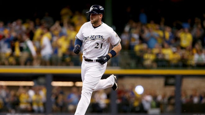 The Brewers' Travis Shaw has 17 home runs and 57 runs batted in this season.