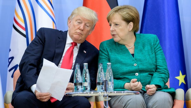 President Trump and German Chancellor Angela Merkel at a G20 summit in Hamburg.
